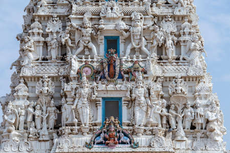 Detail of sacred Hindu temple in holy city Pushkar, Rajasthan, India. Stockfoto