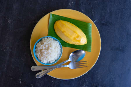 Thai style dessert, mango with sticky rice on plate. Yellow mango and sticky rice is popular traditional dessert of Thailand. Close up