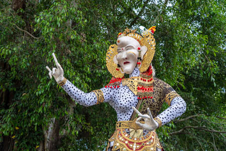 Impresive hand made structure, Ogoh-ogoh statue built for the Ngrupuk parade, which takes place on the even of Nyepi day in Ubud, Bali island, Indonesia, close up