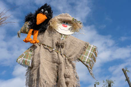 Cute humanoid scarecrow together with a black crow on a background of blue sky, Ukraine. Close up