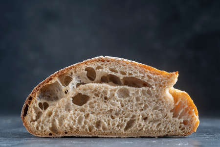 Natural abstract texture of yeast-free sourdough bread, close up