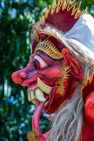 Giant handmade structure, Ogoh-ogoh statue built for the Ngrupuk parade, which takes place on the even of Nyepi day in Ubud, Bali island, Indonesia. A Hindu holiday marked by a day of silence