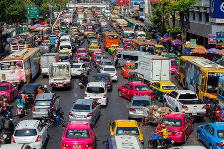 Bangkok, Thailand - jan 22, 2015: Traffic jam along a busy road in Bangkok, Thailand