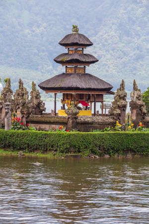 Beautiful Pura Ulun Danu Bratan Water Temple in cloudy weather on the island of Bali, Indonesia, Asia