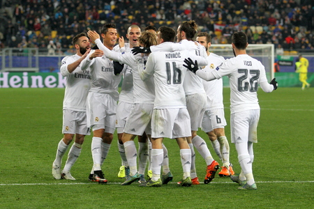 LVIV, UKRAINE - NOVEMBER, 25: FC Real Madrid football players celebrate a goal scored during the UEFA Champions League match between Shakhtar vs Real Madrid on November 25, 2015 in Lviv, Ukraine. Editorial