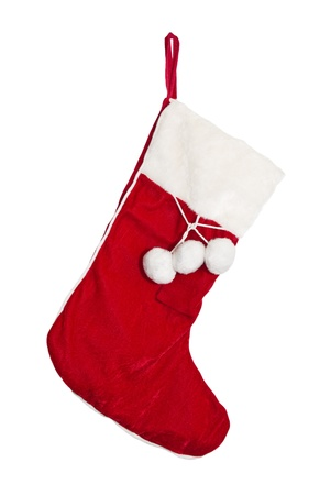 Christmas stockings on the mantel isolated on white Stock Photo - 10798653