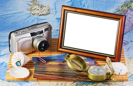 memories from vacation - photos, map and compass Stock Photo - 10798685