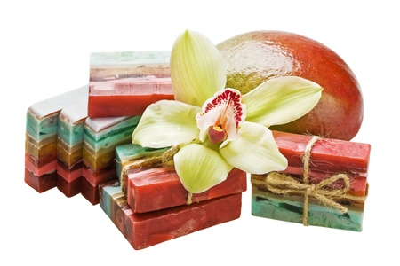 handmade soap with the scent of mango and orchid photo