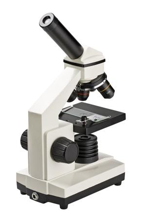 microscopio: Microscopio moderno cient�fico aislado en blanco Foto de archivo