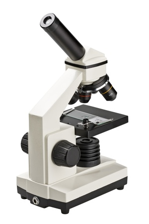 microscope lens: Scientific modern microscope isolated on white Stock Photo