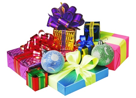 Christmas decoration of balloons and gifts on a white background photo