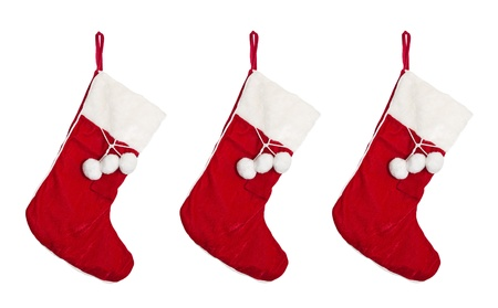 Christmas stocking isolated on white.   photo