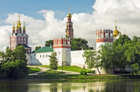 Novodevichy convent in the early morning (view from the lake) photo