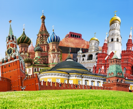 tomb:  collage of Moscow sights on Red Square
