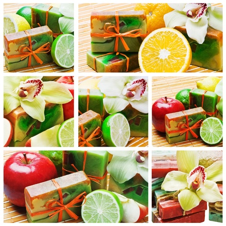 collage of fruit and natural handmade soap   photo