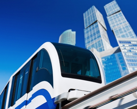 modern monorail in the city of skyscrapers  photo