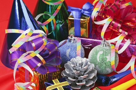Christmas decorations from balloons and gifts photo