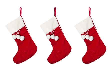christmas sock: Christmas stocking isolated on white.