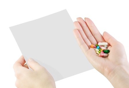 prescription for the patient and pills in hand photo