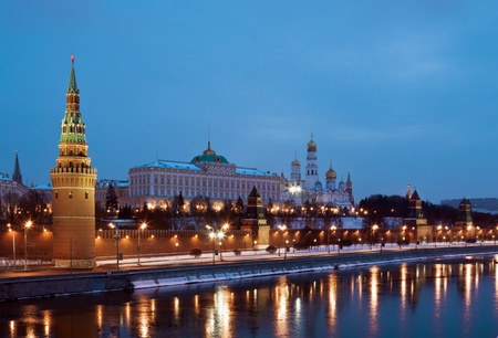 kremlin: The Moscow Kremlin and Cathedrals winter night  Stock Photo