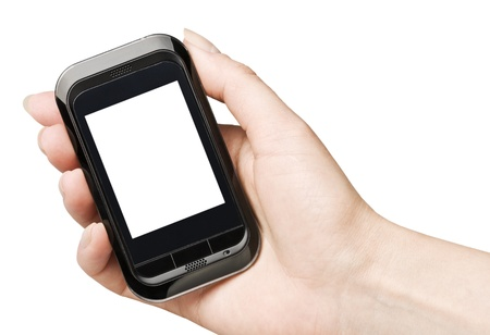 Mobile phone in a hand isolated on a white background  photo