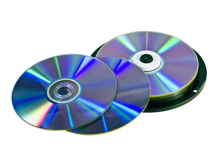 blu: Many DVDs isolated on the white background Stock Photo