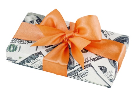cash gift isolated on a white background photo