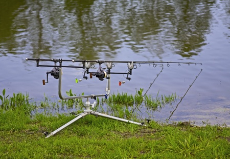 fishingline: filled with carp rods prepared for fishing Stock Photo