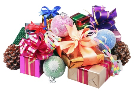 Christmas decoration of balloons and gifts on a white background
