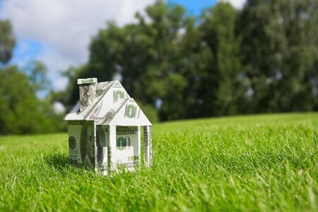 Concept picture on money for new housing Stock Photo