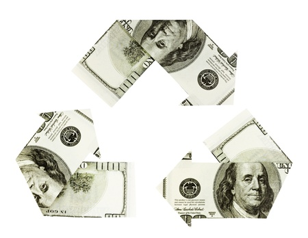 commercial recycling: Dollar bills on white background folded into arrows in the shape of the recycling symbol