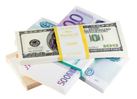 packets of money from different countries is isolated on a white background Stock Photo - 11272234