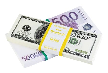 bundles with money dollars and euros on a white background photo