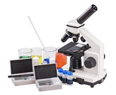 reagents: microscope and biological reagents to study Stock Photo