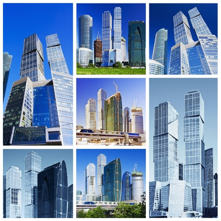 collage composed of images of skyscrapers Moscow City  photo