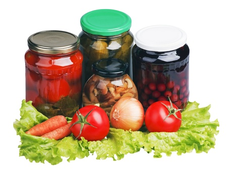 canned and fresh vegetables on lettuce Stock Photo - 11272381
