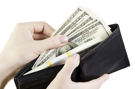 hand pulling dollars out of the wallet Stock Photo - 11272430