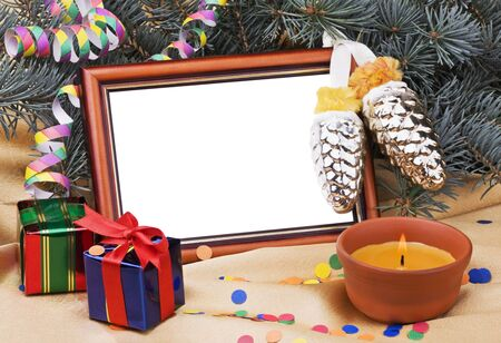 Christmas Card with gift boxes and Christmas ornaments photo