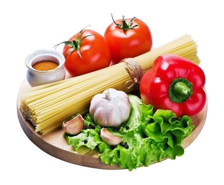 spaghetti and fresh vegetables isolated on white background Stock Photo - 11272545