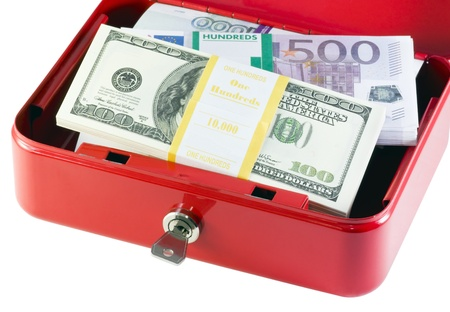 box with different currencies is isolated on a white background Stock Photo - 11272546