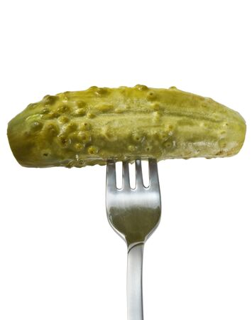 tine: salted cucumber on a fork