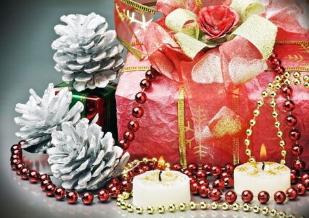 gift and decorations for Christmas holiday photo