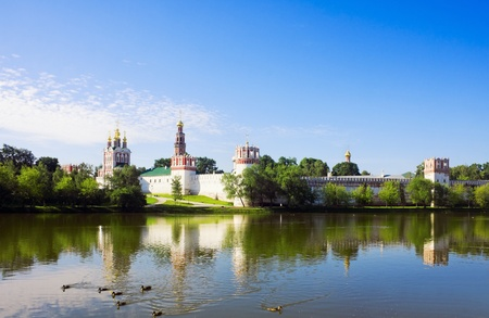 Novodevichy convent in the early morning (view from the lake) Stock Photo - 11484293