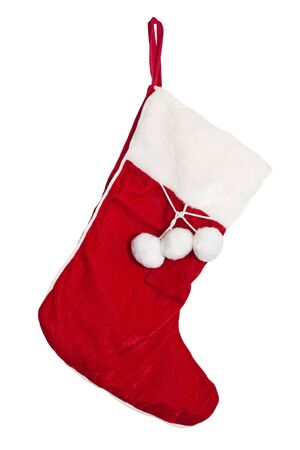 Christmas stockings on the mantel isolated on white photo