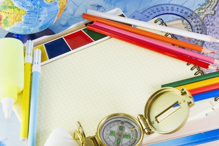 pencils, notebooks and other school supplies photo