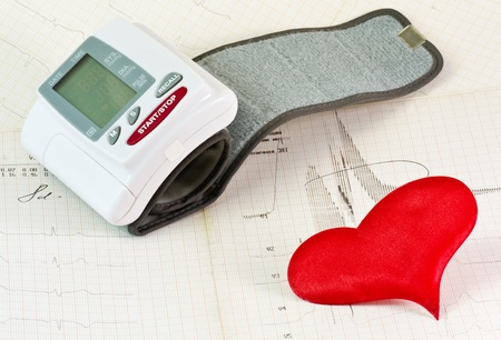 tonometer and the red heart on the background of an electrocardiogram   photo