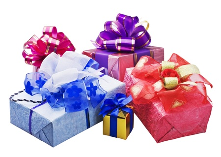 gifts for Christmas and new year on a white background photo
