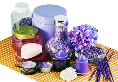 different creams and tools for the spa and aromatherapy photo