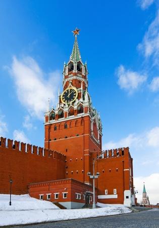 spasskaya: Spassky Tower of Moscow Kremlin clock chimes Stock Photo