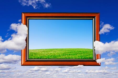 wooden frame on the background of the sky  photo